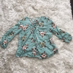 Tops - Turquoise quarter sleeve floral top